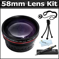 58mm Bundle 0.45x Wide Angle & Macro Lens + Lens Pen Kit + Mini Flexible Tripod + More For The Canon EOS Rebel T5i, T4i, EOS 550D, T3i, EOS 600D, T3, EOS 1100D Digital SLR Camera Which Has Any Of These (18-55mm, 75-300mm, 50mm 1.4 , 55-200) Canon Lenses