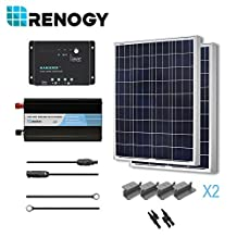 RENOGY® Solar Panel Complete Kit 200W Poly: Two 100W Poly Solar Panel+One 30A PWM Charge Controller+One Battery Inverter 1000W+One Pair of MC4 Branch Connectors+One Pair 20Ft MC4 Solar Adaptor Kit+One Pair 8Ft 10AWG Tray Cable+Two Sets of Z Brackets