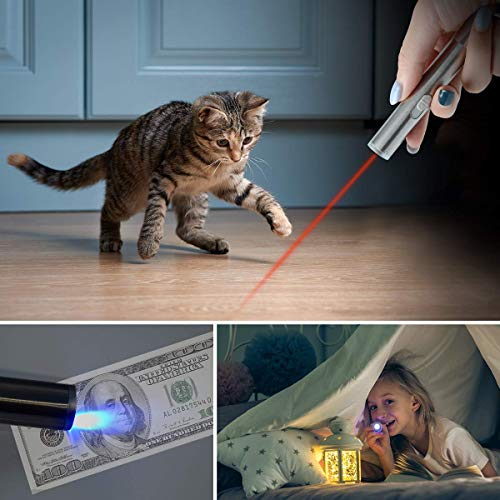 CLEYCYE Cat Interactive Toy Dog Cat Catch Exercise Chaser Toy Pet Scratching Training Tool,Rechargeable 3 in 1 Kitten Cat Toys LED Pointer with 2 Ball