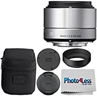 Sigma 19mm f/2.8 DN Lens for Micro Four Thirds Cameras (Silver) + Photo4Less Cleaning Cloth - Great Basic DSLR Lens Accessory Bundle!