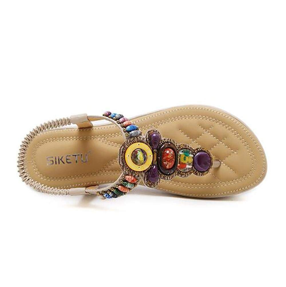 Oudan Sommer Sandalen Flachen Strand Schuh Schuh Schuh Flip Flops Damen Mode Slipper, schwarz, 37 (Farbe   Aprikose, Größe   36) 56ffef