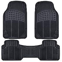 BDK Front and Back ProLiner Heavy Duty Rubber Car Floor Mats for Auto, 3 Piece Set (Black)