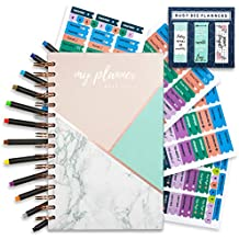 Hardcover Weekly Monthly Planner 15 Months OCT 2018- DEC 2019 Premium Thick Paper 7x9 Added Bonus Accessories Stickers and 12 Fine Line Pens Busy Bee Planners