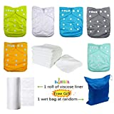 LilBit Adjustable 6 Baby Cloth Diapers,6 Inserts,Flushable viscose liners,Wet/dry Bag