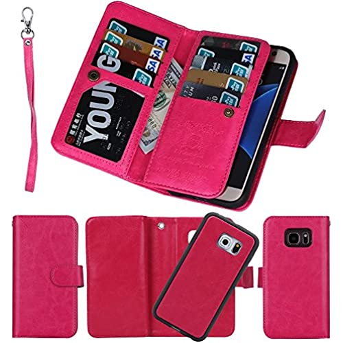 Samsung Galaxy S7 Edge Separable Wallet Case, Soundmae Multi-function 2-in-1 Magnetic Adsorbent Detachable Removable Sales