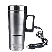 Water Heater Mug 12V Vacuum Insulated Car Electric Kettle Heated Stainless Steel Car Cigarette Lighter Heating Cup Coffee Cup With Charger