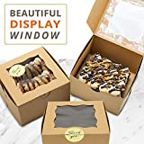 50 Pack Display Window Brown Bakery Boxes for Small