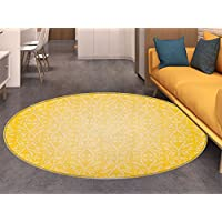 Vintage Yellow Area Silky Smooth Rugs Victorian Style Swirls Timeless Royal Motifs Monochrome Curves Home Decor Area Rug Yellow and Pale Yellow