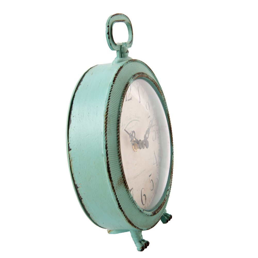 NIKKY HOME Vintage Metal Round Table Clock with Handle and Dragon Feet Stand for Home Living Room Bedroom Decor 5.6 by 2.2 by 7.5, Distressed Aqua Blue