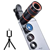 Apexel 4 in 1 Camera Lens 8x Telephoto Lens+Fisheye+Wide Angle + Macro Lens for iPhone 7 6/6s plus SE Samsung Galaxy S7/S7 Edge S6/S6 Edge and HTC Google Huawei LG Smartphone Tablets