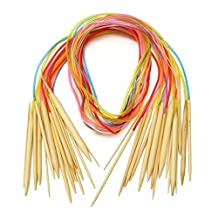"""Celine lin 18 sizes 48 inch""""(120cm)Colorful Circular Bamboo Knitting Needles (2mm-10mm)"""