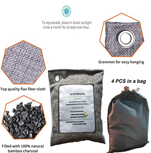 Bamboo Charcoal Air Purifying Bags (4 Pack), Nature Fresh Air Purifying Bags, -Odor Eliminator Purifying Bags for Home, Pets, Car, Closet,Office, Basement, RV (4 x 200g)