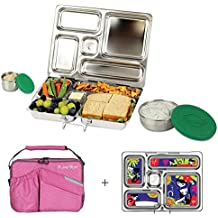 PlanetBox ROVER Eco-Friendly Stainless Steel Bento Lunch Box with 5 Compartments for Adults and Kids - Pink Carry Bag with Retro Kitty Magnets