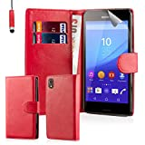 32nd Book Style Faux Leather Wallet Case Cover for Sony Xperia M4 Aqua Cell Phone - Red