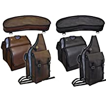 Tahoe Tack Synthetic Leather Saddle Bag Set 3 Items for Horse Trail Riding