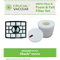 Replacement for Shark NV650 HEPA Style, Foam & Felt Filter Fits NV650, NV651 & NV652 Rotator Lift-Away, Compatible With Part # XFF650 & XHF650, by Think Crucial