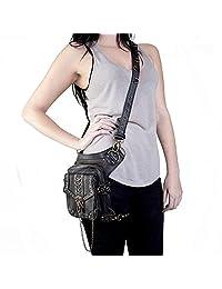 SmartHS Women PU Leather Motorcycle Bag Steampunk Shoulder Waist Bag Thigh Holster Bag
