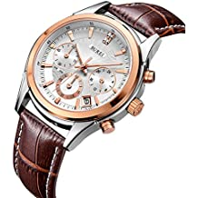 BUREI Men's Rose Gold Chronograph Wrist Watches with White Dial Brown Leather Strap