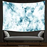House Decor Tapestry Apartment Decor Fluffy Cloud Skyline Like Marble Motif with Grunge Features Art Imagees Blue White Wall Hanging for Bedroom Living Room Dorm