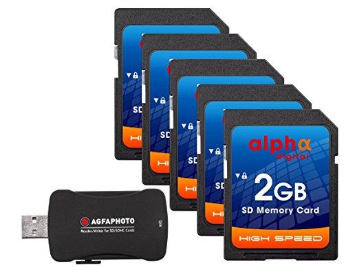 Alpha Digital 5x Memory Card for Nikon D50 D40 D40X D3300 | 2GB Secure Digital (SD) Memory Cards Plus Agfa Card Reader (5 Pack)