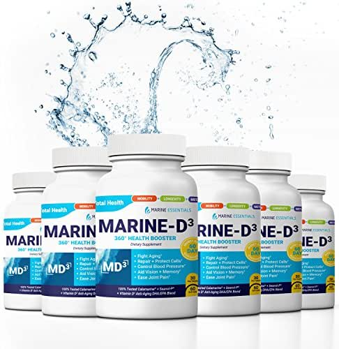 "Marine Essentials Vitamin D3 Omega 3 Fish Oil - ""Marine-D3"" 340mg Vitamin D3 DHA Anti Aging Omega 3 Fish Oil Dietary Supplement (360 Capsules)"