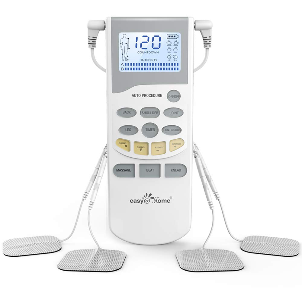 Easy@Home Professional Grade TENS Unit Pulse Muscle Stimulator Massager - More Pulse Intensity Range, Rechargeable Battery and Backlit LCD Display - Health Canada, for OTC home approved Pain Relief Therapy Device EHE012PRO product image