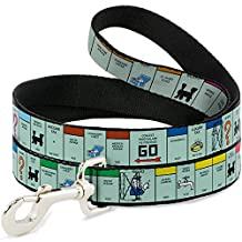 """Buckle-Down Wide 1.5"""" """"American Monopoly Board Game Spaces"""" Dog Leash, 4'"""