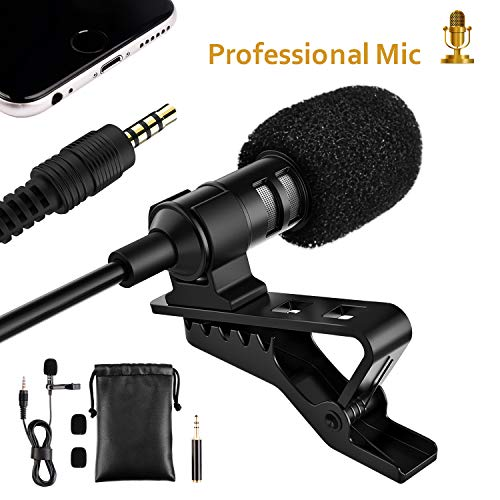 Professional Lavalier Lapel Microphone Compatible with Phone DV Camera PC Laptop, Clip-On Omnidirectional Noise Cancelling Mic (LIDIWEE, 1.4ft Cable)