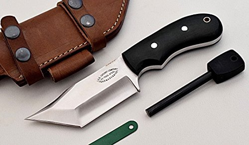 CFK Cutlery Company USA Custom Handmade D2 Small HYBRID-TANTO Bushcraft Hunter Tactical Knife with Horizontal Leather Sheath and Fire Starter Set CFK5…