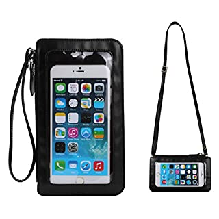 Small Crossbody Shoulder Bag Touch Screen Phone Pouch Case Leather Wristlets Clutch Wallet Purse for iPhone 11 Xs Max XR 8 Plus Galaxy Note10 Note9 S10e S10+ S9 Plus LG Stylo 4 V40 G8 G7 ThinQ(Black)