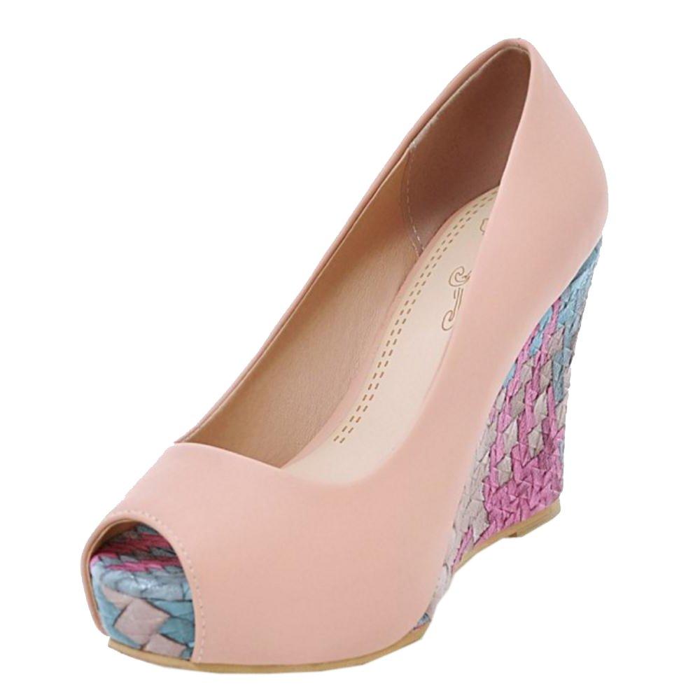 COOLCEPT Damen Peep Toe Pumps Keilabsatz Pink2018 Letztes Modell  Mode Schuhe Billig Online-Verkauf