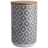 """DII Bone Dry Ceramic Pet Treat Storage Canister with Air Tigh Lid 4""""(Dia) x 6.5"""" (H), Perfect Food and Treat Jar for Dogs and Cats-Gray Paw Lattice"""