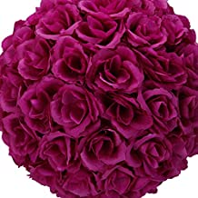 Hot New Elegant Large Romantic Satin Artifical Fake Foam Rose Kissing Ball Flower Purple Party Home Wedding Decoration Accessory Supply