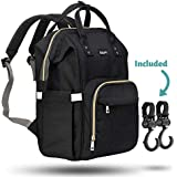 ZUZURO Diaper Bag - Baby Bag - Waterproof Backpack w/Large Capacity & Multiple Pockets for Organization. Ideal for Travel Nappy Bags - W/Insulated Bottle Pocket. 2 Stroller Hooks Incl. (Black)