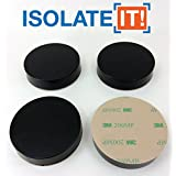 """Isolate It: Sorbothane Vibration Isolation Circular Disc Pad .5"""" Thick x 2.25"""" Dia. 50 Duro with 3M Adhesive - 4 Pack"""