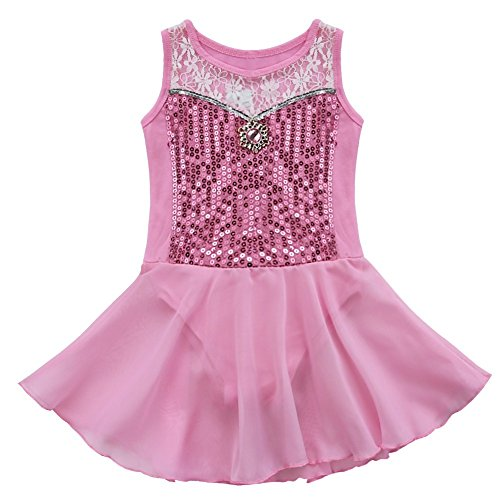 FEESHOW Girls Kids Toddler Sequins Ballet Leotard Dress Gymnastic Dance Costumes (Pink Dance Costume)