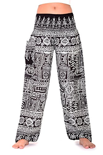 Bangkokpants Hippie Boho Pants Art Design Black One Size Fits Women Rayon US 0-12