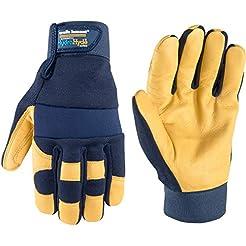 Men's Hybrid Leather Palm Work Gloves, W...