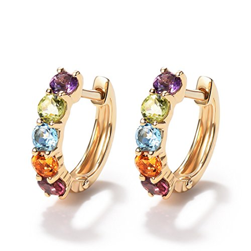 - FANCIME 14K Solid Yellow Gold 0.77cttw Multi Colored Amethyst Peridot Topaz Citrine Garnet Hinged Huggie Cartilage Tiny/Small Hoop Earrings Dainty Delicate Fine Jewelry For Women Girls Diameter 12mm