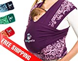 Soothe Your Baby & Get Work Done - Soft Cotton Carrier Sling - Ideal Babywrap For Newborns To Toddlers - Perfect Tool For Breastfeeding & Physical Development For Your Infant - Great Gift Idea Violet
