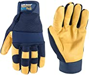 Men's Genuine Leather Palm Work Gloves, Water-Resistant HydraHyde, Large (Wells Lamont 3207L),