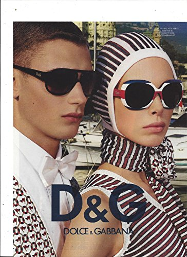 MAGAZINE ADVERTISEMENT For 2009 Dolce & Gabbana Sunglasses Sailboat - Von Dolce Sunglasses