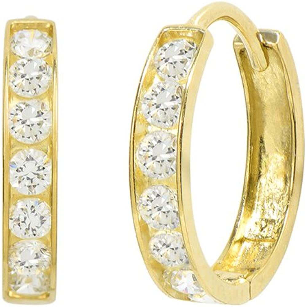 Round Cut Channel Set Created White Diamond 14k Yellow Gold Hoop Earrings