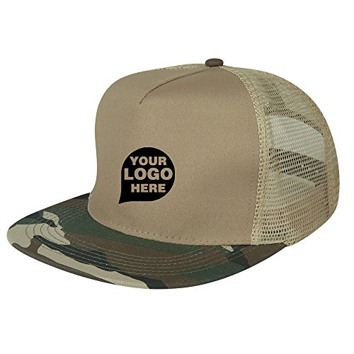 Flat Bill Camo Cap - 48 Quantity - $3.99 Each - PROMOTIONAL PRODUCT/BULK/BRANDED with YOUR LOGO/CUSTOMIZED (Clothing Promotional Customized)