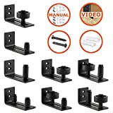 Barn Door Floor Guide Stay Roller by LIFFOS - Adjustable Wall Mount Guide with 8 Different Setups for Barn Door Hardware - Black Powder Coated - Flush Bottom - Perfect Fit for All Sliding Barn Doors