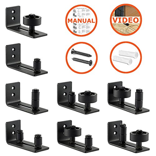 Barn Door Floor Guide Stay Roller by LIFFOS - Adjustable Wall Mount Guide with 8 Different Setups for Barn Door Hardware - Black Powder Coated - Flush Bottom - Perfect Fit For All Sliding Barn Doors by LIFFOS