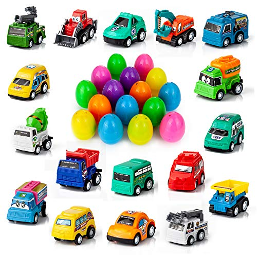 YIHONG Set of 17 Prefilled Easter Eggs with Toy Cars, 3 inch Colorful Plastic Easter Surprise Eggs Filled with Pull Back Construction -