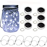 6 Pack Solar Mason Jar Lights 20 LED String Fairy Firefly Jar Lid Lamp with 6 Hangers Decorative Lighting for Party Wedding Christmas Patio Yard Garden (Cool White)