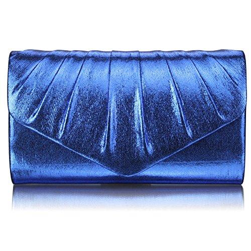 Xardi Londra New-Busta frizione pieghe, in finta pelle, per abiti da sera, da donna Blue