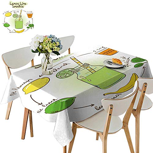 Lime Smoothie - UHOO2018 Tablecloth sketc Lemon Lime Smoothie inclu Recipe redients Square/Rectangle Table Cover,52 x 146inch